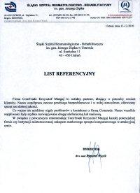 Referencje - comtrade, szpital reumatologiczny
